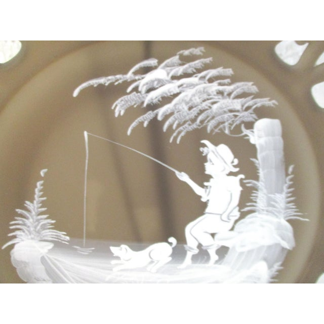 1970s Smoke Glass Girl & Boy Display Plates - a Pair For Sale - Image 5 of 9