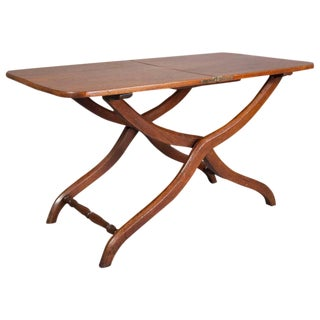 Victorian Mahogany Campaign Map Table or Coffee Table