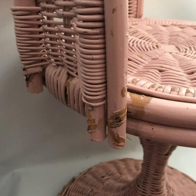 Metal Vintage Wicker Swivel Chair For Sale - Image 7 of 11