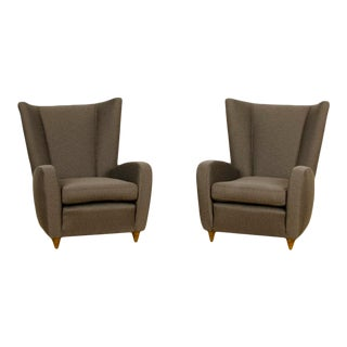 Newly Upholstered Wingback Chairs Designed by Paolo Buffa Italy 1950s - a Pair For Sale