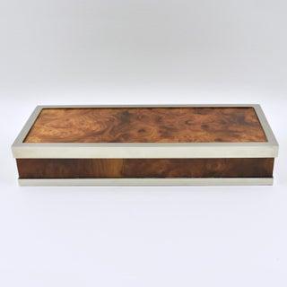 Maison Lancel Paris Chrome and Burl Wood Extra Long Decorative Box Preview