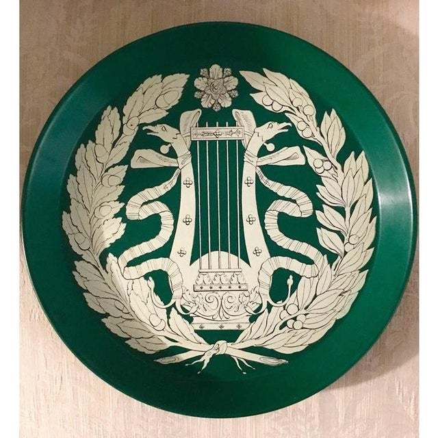 Early handcrafted - highly collectible and sought after Fornasetti tray. Brilliant green with the musical motif.