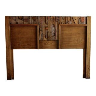 1960s Mid Century Modern Lane Brutalist Paul Evans Style Queen or Double Sized Headboard