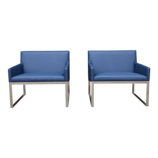 Stainless Steel Lounge Chairs - a Pair For Sale