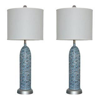Marbro Vintage Ceramic Table Lamps in Blue For Sale