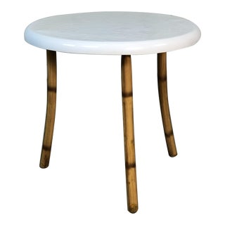 1960s Round Fiberglass & Burnt Bamboo Side Table For Sale