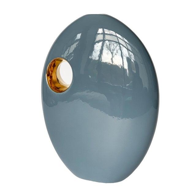 Jaru Blue and Gold Sculptural Ceramic Vase For Sale - Image 13 of 13