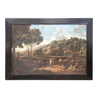 18th Century Italian Oil Painting on Canvas Landscape With People and Cities For Sale
