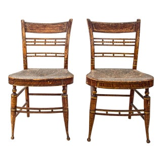 Early American Painted Chairs - A Pair For Sale