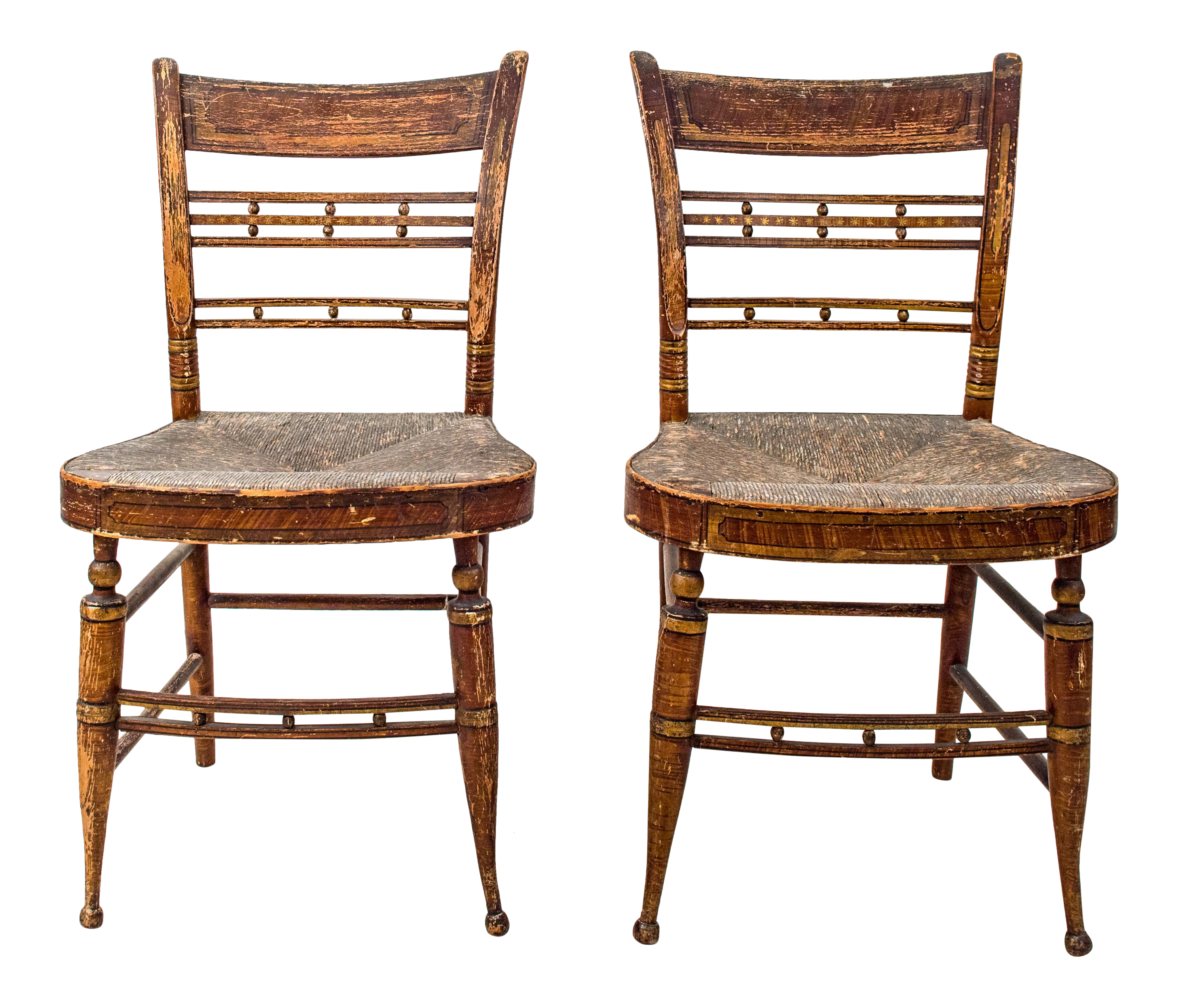 Early American Painted Chairs   A Pair
