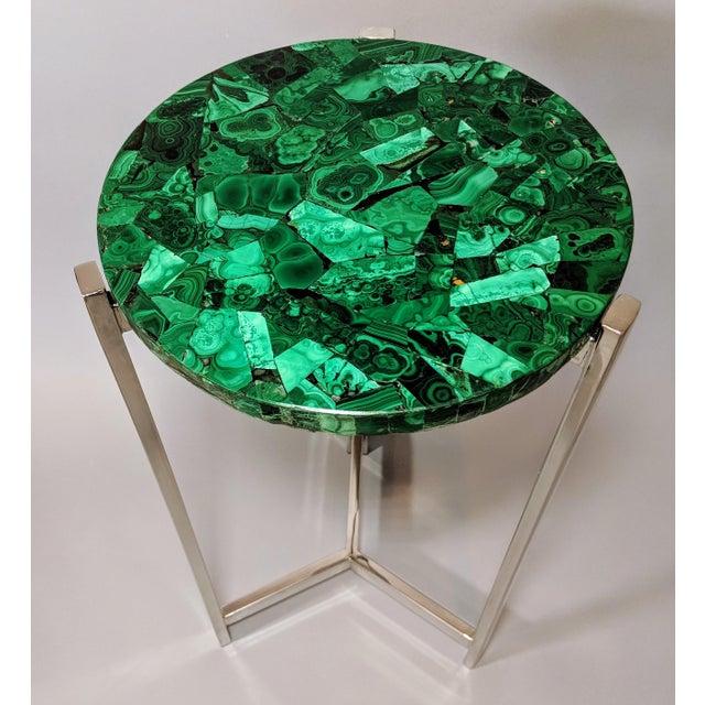Art Deco Malachite & Chrome Side Table For Sale - Image 13 of 13