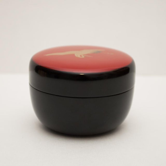 Late 20th Century Japanese Lacquered Black Painted Wood Tea Caddy in a Wood Box For Sale - Image 5 of 13