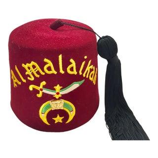 Al Malaikah Iconic Masonic Shriner Burgundy Wool Fez Hat in Original Box For Sale