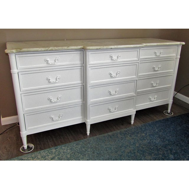 Mid-Century Modern 1970s Mid-Century Modern 12- Drawer Marble Top Chest For Sale - Image 3 of 8