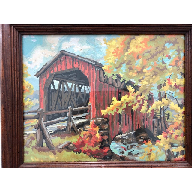 Vintage Paint By Number Scene In Frame