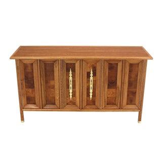 Mid-Century Modern Dresser Credenza with Folding Doors Brass Hardware For Sale