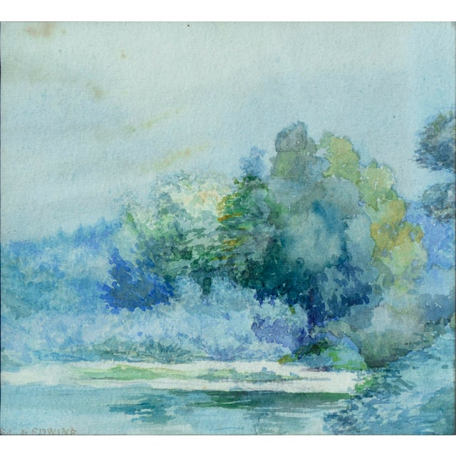 Beautiful impressionistic watercolor of lush foliage at the water's edge by Emma Lou Redwine (American, 1879-1968). Signed...