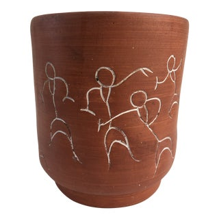 Vintage Mexican Hand Decorated Terracotta Planter or Cachepot For Sale