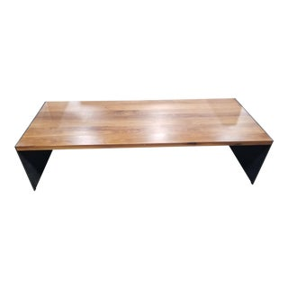 Industrial Room and Board Walnut Coffee Table For Sale