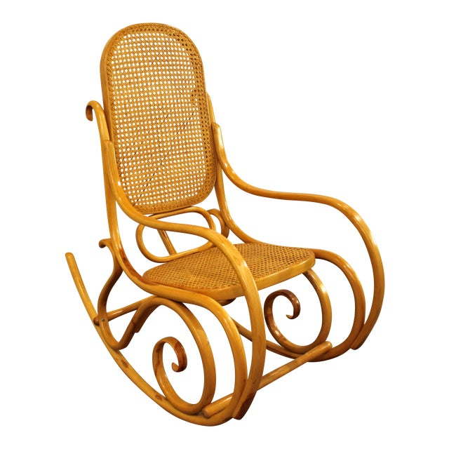 Thonet Salvatore Leone Bentwood Caned-Seat Rocking Chair #10 For Sale