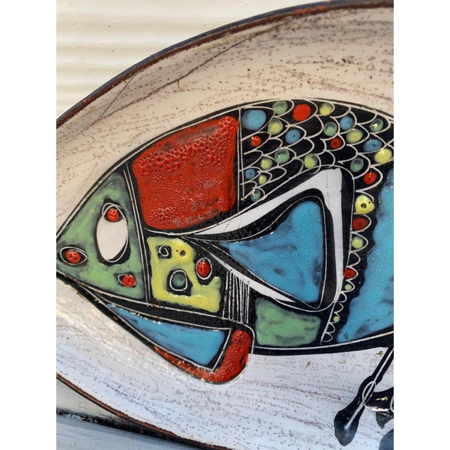 Leather Wrapped Ceramic Hand-Painted Tray in the Style of Marcello Fantoni For Sale In Raleigh - Image 6 of 8