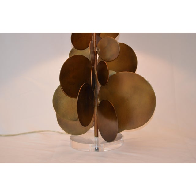 Modern Modern Arteriors Home Brass Disc Lamp With Brown Shade For Sale - Image 3 of 7