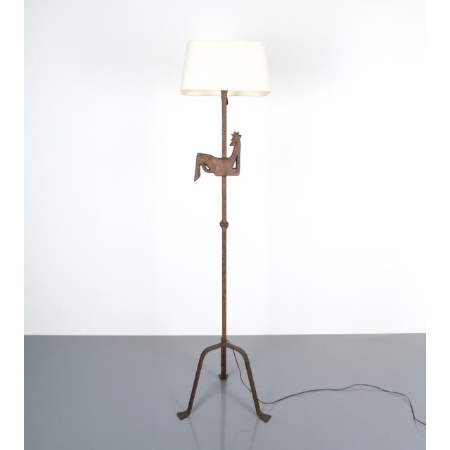 Copper Jean Touret for Atelier Marolles Wrought Iron Floor Lamp, France, Circa 1955 For Sale - Image 8 of 8