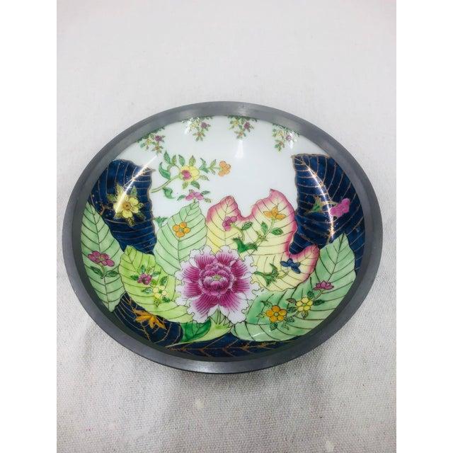 "Large 8""D Tobacco Leaf pattern pewter encased bowl. Marked Japanese Porcelain Ware decorated in Hong Kong."