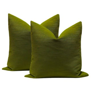 "22"" Strie Velvet Peridot Pillows - a Pair For Sale"