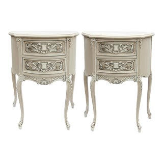 Demi Lune Nightstands With 2 Draws - a Pair For Sale
