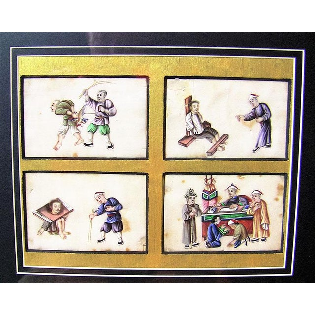 Asian 19c Chinese Hand Painted Silk Collage of Chinese Tortures For Sale - Image 3 of 4