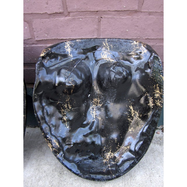 Late 20th Century Black and Gold Splatter Paint Plaster Face Mask Wall Sculptures - a Pair Fornasetti Style For Sale - Image 10 of 11