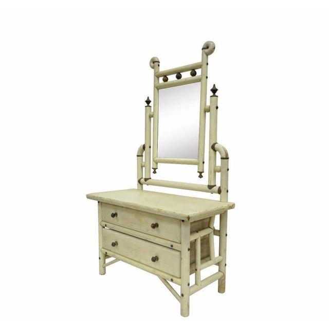 "30"" H Antique Arts & Crafts Salesman Sample Bentwood Painted Dresser & Mirror For Sale - Image 11 of 11"