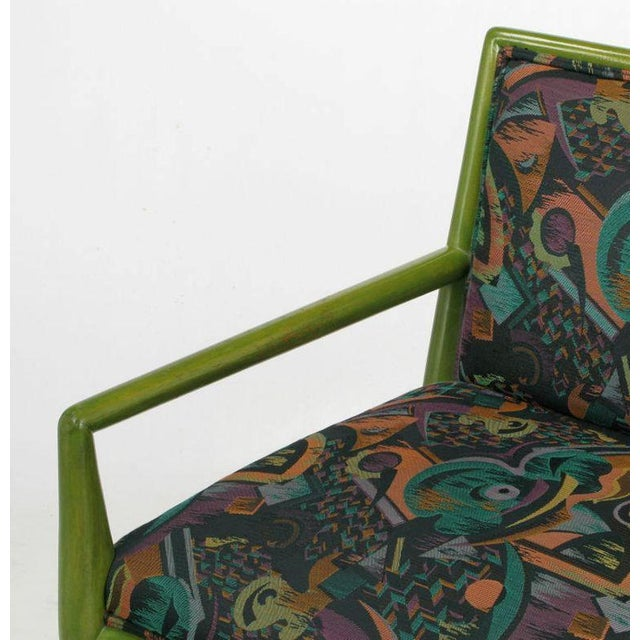 Four T.H. Robsjohn-Gibbings Moss Green Walnut Arm Chairs For Sale - Image 9 of 10