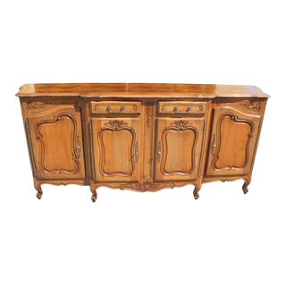1900s French Louis XV Solid Walnut Sideboard or Buffet For Sale