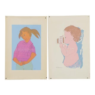 1970s Vintage Girl & Toddler Screen Print Serigraphs by Jasper d'Ambrosi - a Pair