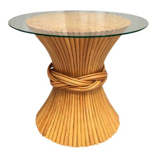 McGuire Rattan Wheat Sheaf Side Table For Sale