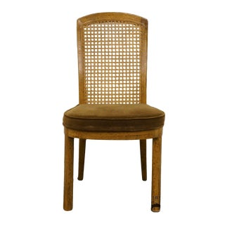 Drexel Accolade Campaign Style Cane Back Dining Side Chair For Sale