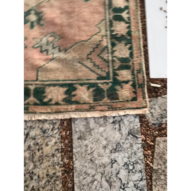 """Tribal Hand Made Vintage Tribal Turkish Runner Rug With Greens and Peach 2'9""""x4'2"""" For Sale - Image 3 of 10"""