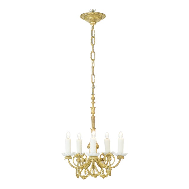 Superb french gold leafed chandelier with porcelain bobeches decaso french gold leafed chandelier with porcelain bobeches image 1 of 11 aloadofball Choice Image