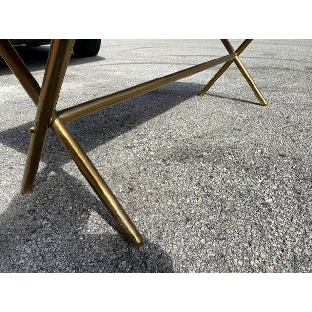 1950s Brass X Frame Cofee Table For Sale - Image 5 of 9