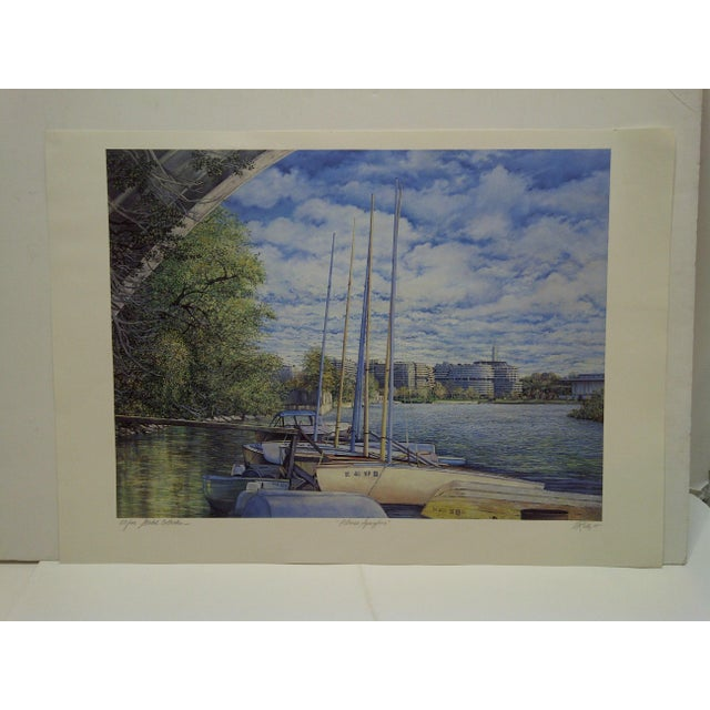 "Paper Mary Anne Reilly 1985 ""Potamac Springtime"" Signed Print For Sale - Image 7 of 7"