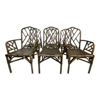Mid-Century Chinese Chippendale Style Bamboo and Rattan Dining Chairs - Set of 6 For Sale