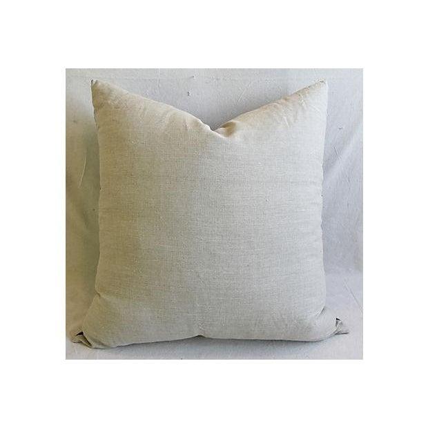 "Bohemian Chic Jumbo 32"" Blue & White Tribal Pillow/ Floor Cushion For Sale - Image 4 of 7"