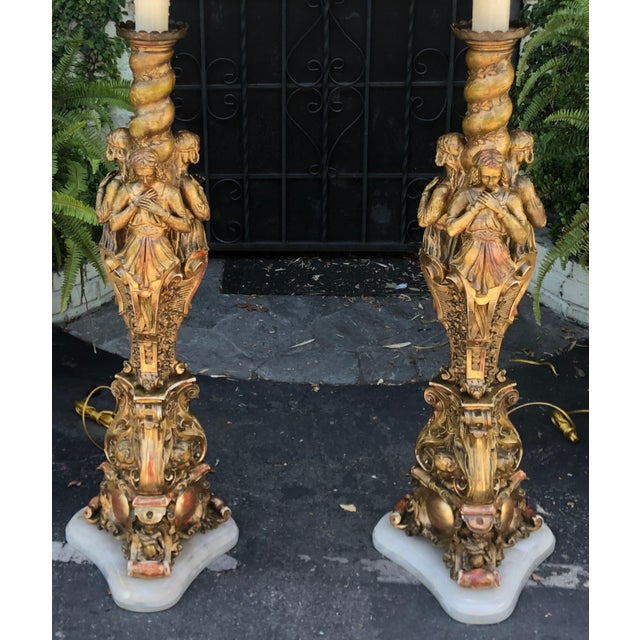 Huge Antique French Giltwood Figural Cathedral Floor Lamps - a Pair For Sale In Los Angeles - Image 6 of 8
