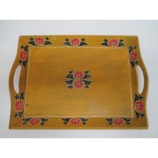 American Vintage Floral Wood Hand Painted Serving Tray With Handles For Sale - Image 3 of 6