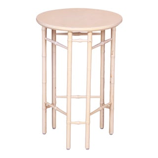 Baker Furniture Hollywood Regency Faux Bamboo Cream Lacquered Side Table, Circa 1960s For Sale