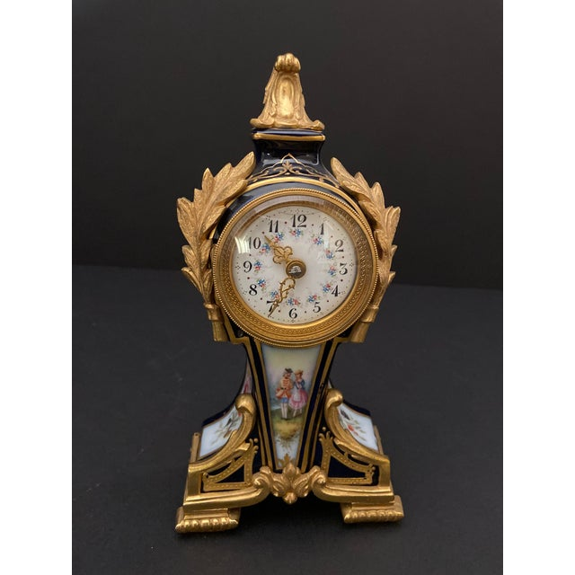 20th Century Belle Epoque Gilt Bronze Mounted Porcelain Clock For Sale - Image 11 of 12