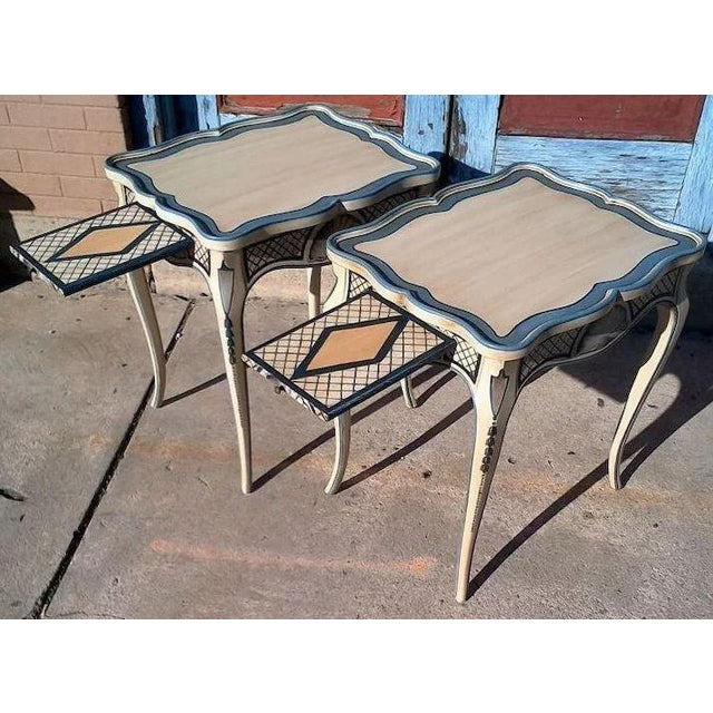 Wood Tea Tables With French Style Paint Cabriole Legs and Candle Slides - a Pair For Sale - Image 7 of 11