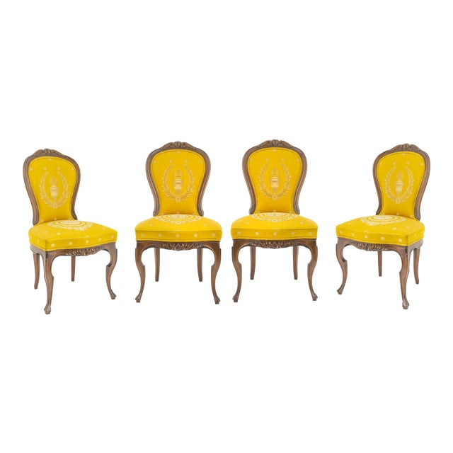 Antique French Rococo Style Walnut Side Chairs - Set of 4 For Sale